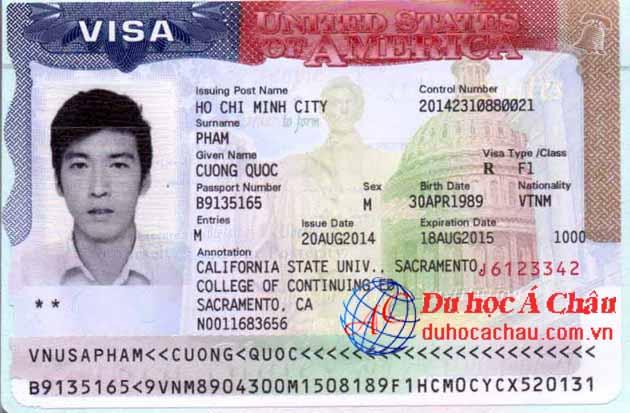 Visa du học Mỹ Phạm Quốc Cường – Công ty du học Mỹ Á CHÂU