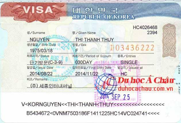 Visa du lịch Hàn Quốc Nguyễn Thị Thanh Thủy – Công ty Á Châu