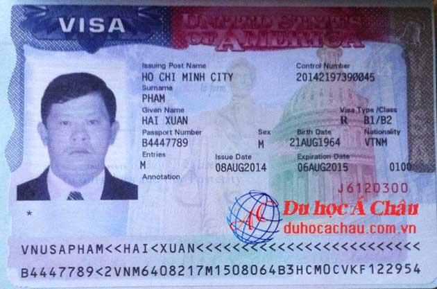 Visa du lịch Mỹ Phạm Xuân Hải – Công ty Á Châu