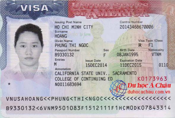 Visa du học tại Mỹ – Hoàng Thị Ngọc Phụng
