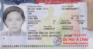 visa du học mỹ 2016 Lâm Như Thảo