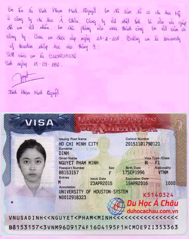 Visa du học Mỹ – Đinh Phạm Minh Nguyệt đại học Houston