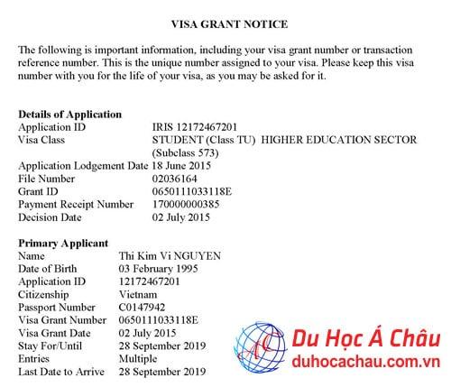 Visa du học Úc – Nguyễn Thị Kim Vi