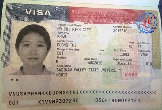 Visa Phan Thị Dương trường Saginaw Valley State University