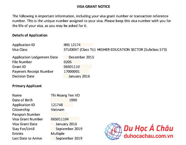 Visa du học Úc trường Southern Cross University – Võ Thị Hoàng Yến