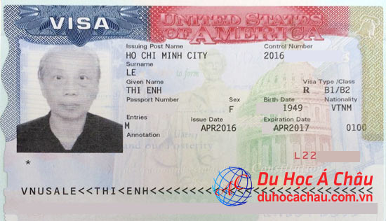 Visa du lịch Mỹ bác Trần Thị Ênh