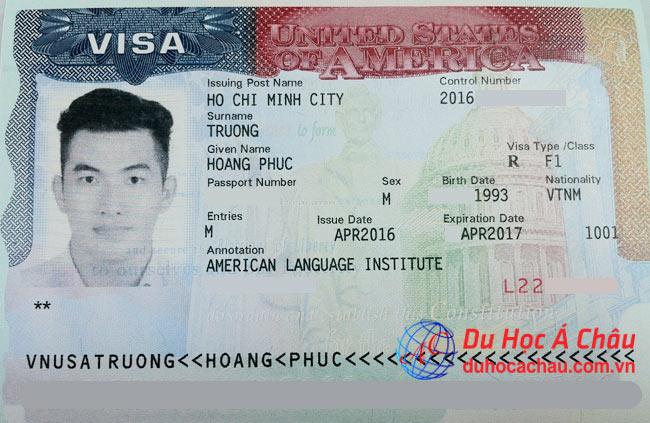 Visa du học Mỹ tự túc em Trương Hoàng Phúc