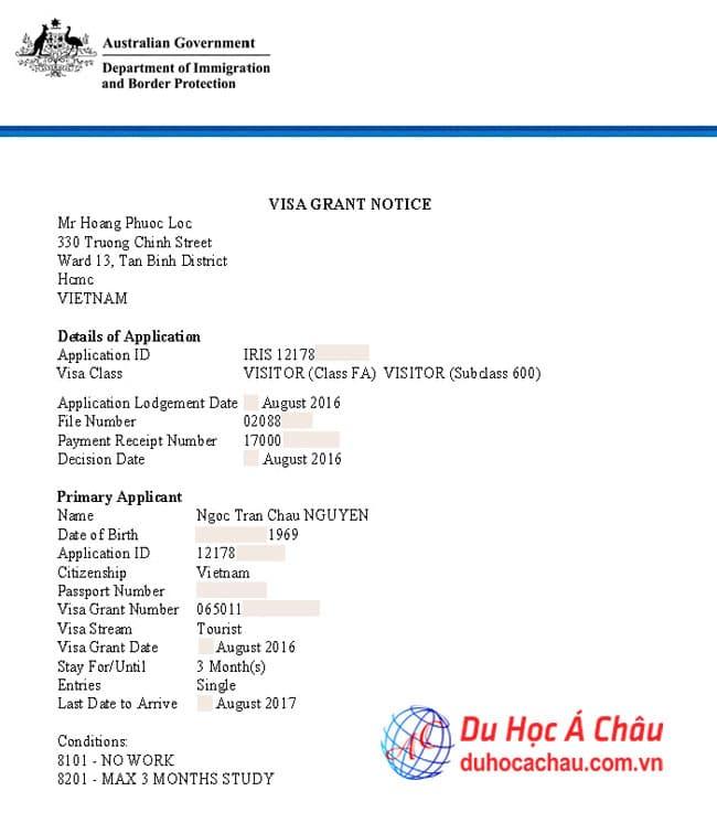 Visa du lịch thăm con du học tại Úc bác Nguyễn Ngọc Trân Châu