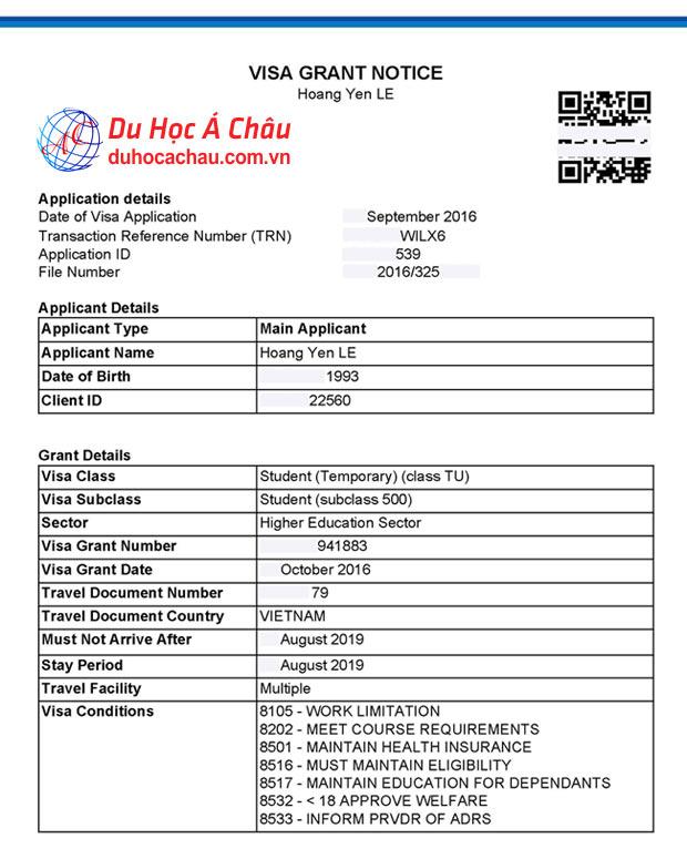 Visa du học Úc bạn Lê Hoàng Yến trường Deakin University