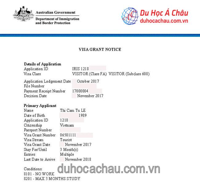 visa du lịch Úc 2018