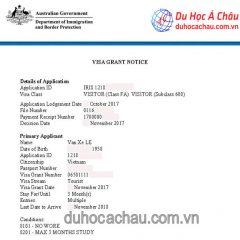 Chúc mừng visa du lịch Úc cho gia đình