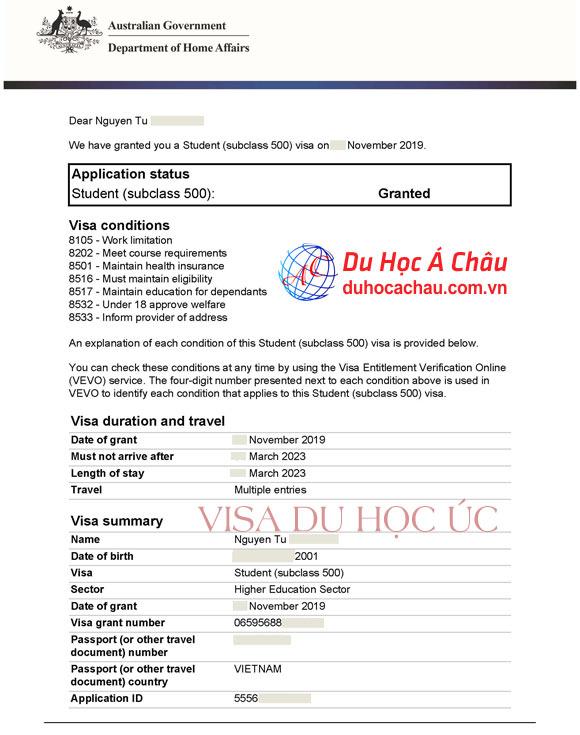 Visa du hoc Uc